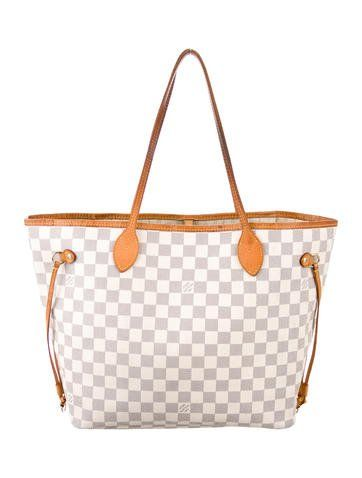 12c1f26f3ebc Creme and navy blue Damier Azur coated canvas Louis Vuitton Neverfull GM  with brass hardware
