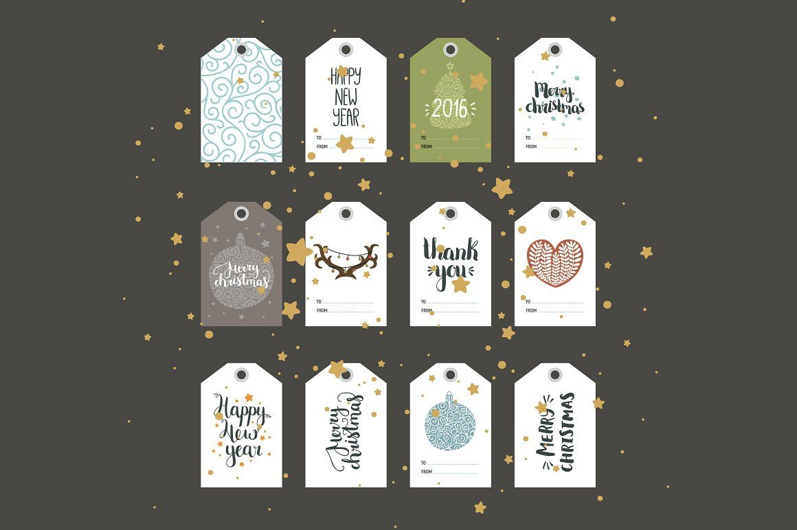 Christmas tags by tatiletters on @creativemarket
