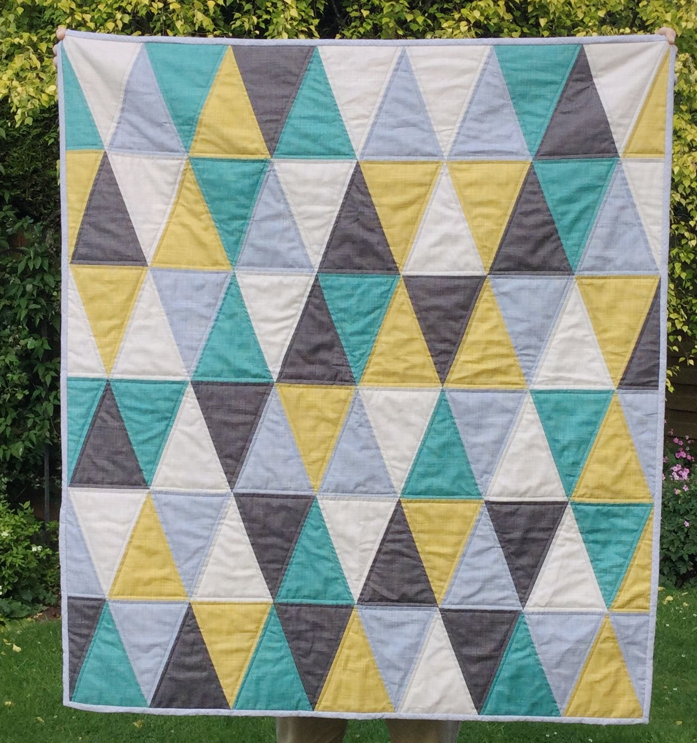Free baby bed quilt patterns - Triangle Baby Quilt Downloadable Pattern Gives Full Instructions And Templates For This Quilt
