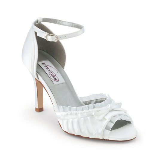 White Satin Bow Frilly Pumps - 5 to 11