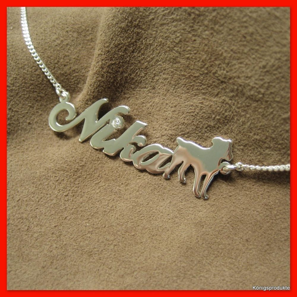 Namenskette mit #Hund, Hundemotiv in 925er Silber mit Zirkonia