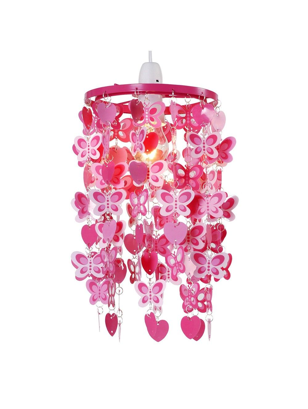 Childrens Bedroom Pendant Ceiling Light Shade Width Pink Hearts - Lamps childrens bedrooms