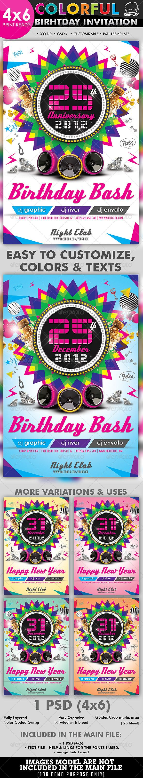 Colorful Birthday Invitation Flyer Template   Colorful birthday ...