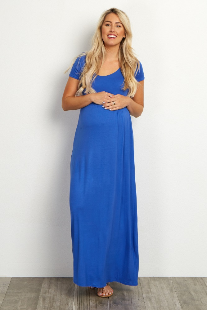 Blue-Solid-Short-Sleeve-Maxi-Dress