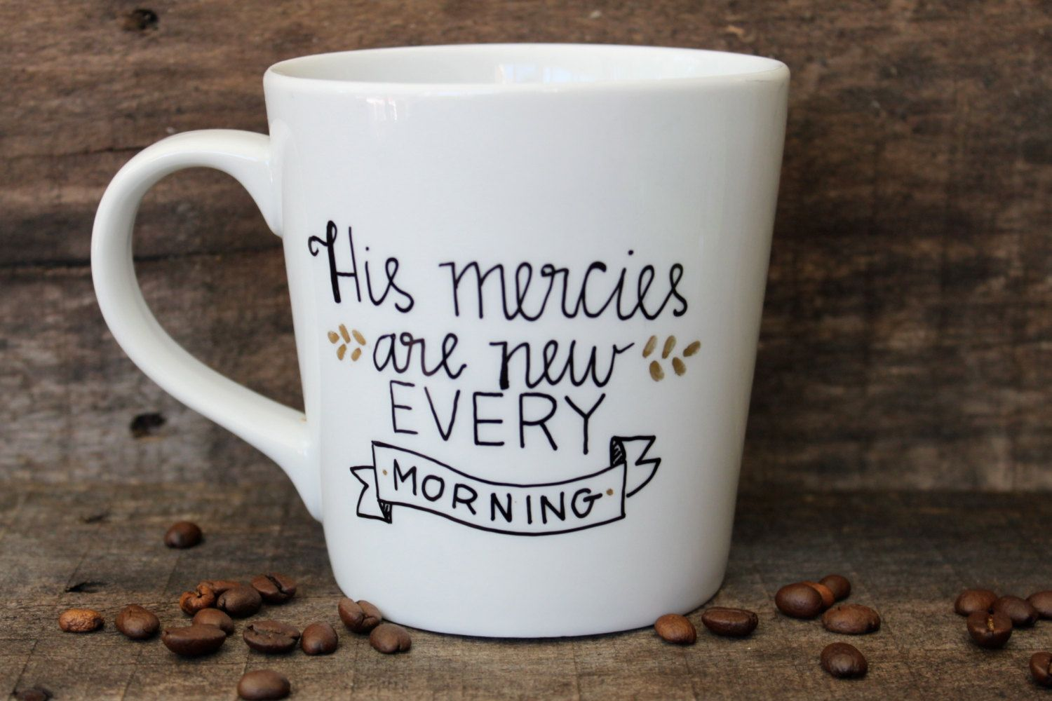 his mercies are new every morning ceramic coffee mug hand painted 16 oz christian gift. Black Bedroom Furniture Sets. Home Design Ideas