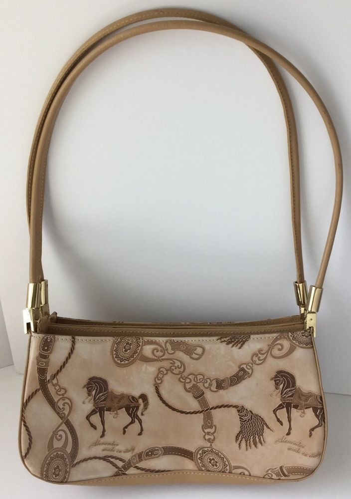 Alexander Made In Italy Horse Pattern Design Equestrian Leather Purse Handbag Clothing Shoes Accessories Women S Handbags Bags Purses
