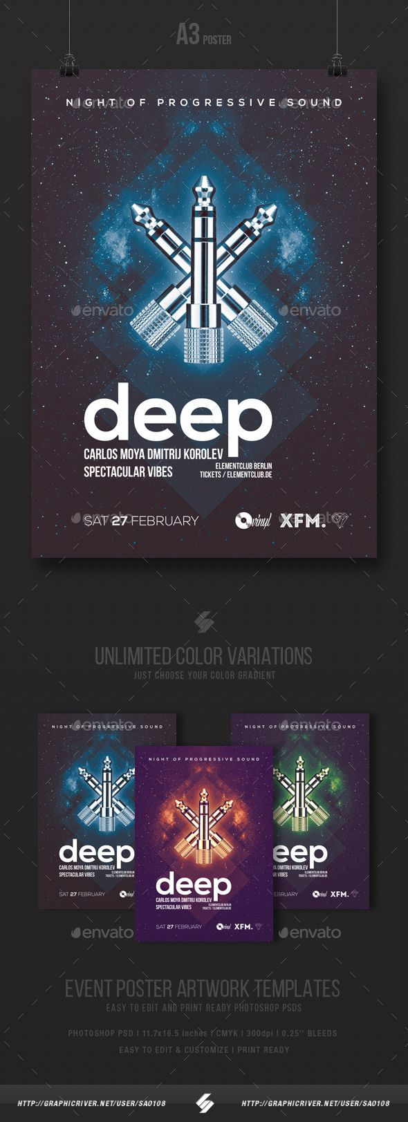 Deep - Progressive Party Flyer / Poster Template A3 | Party flyer ...