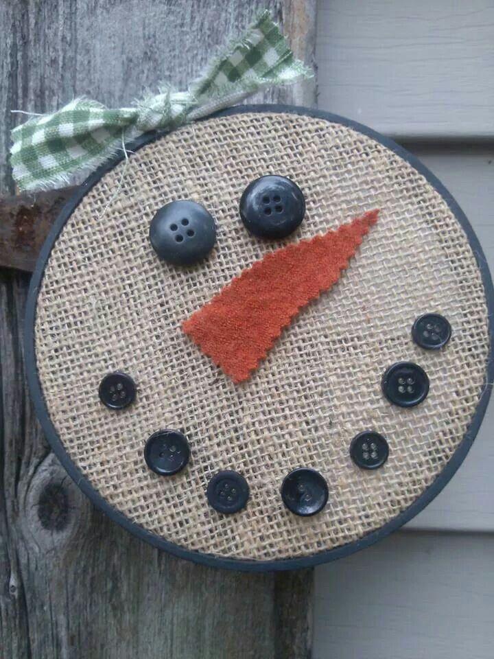 Burlap Snowman in hoop -   25 burlap crafts board ideas