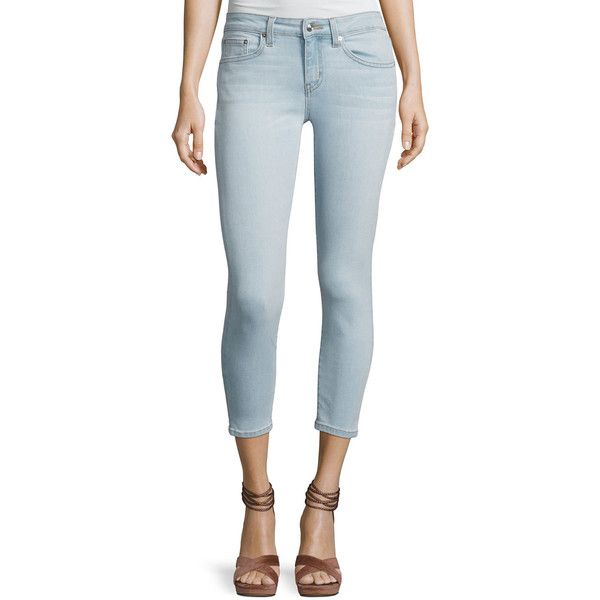 Derek Lam 10 Crosby Devi Mid-Rise Cropped Authentic Skinny Jeans ($245) ❤ liked on Polyvore featuring jeans, light blue, skinny jeans, skinny leg jeans, fitted jeans, button-fly jeans and mid rise skinny jeans