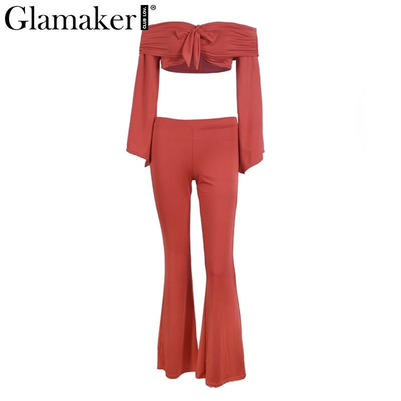 905c4d649e4 Aliexpress.com   Buy Glamaker Two pieces flare sleeve jumpsuit romper Women off  shoulder bow overalls 2018 Spring crop sexy female long playsuit from ...