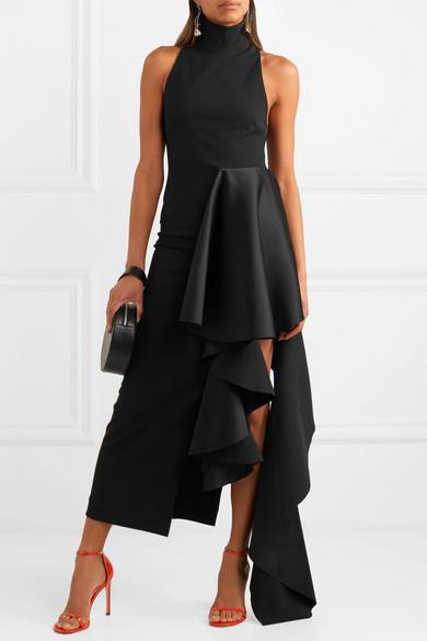 9d9e7a079cd Solace London - Lara Ruffled Stretch-crepe And Satin Midi Dress - Black