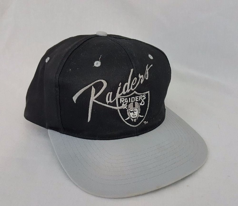 3b170a67 Vintage Los Angeles Oakland Raiders Football Snapback Team NFL Black ...