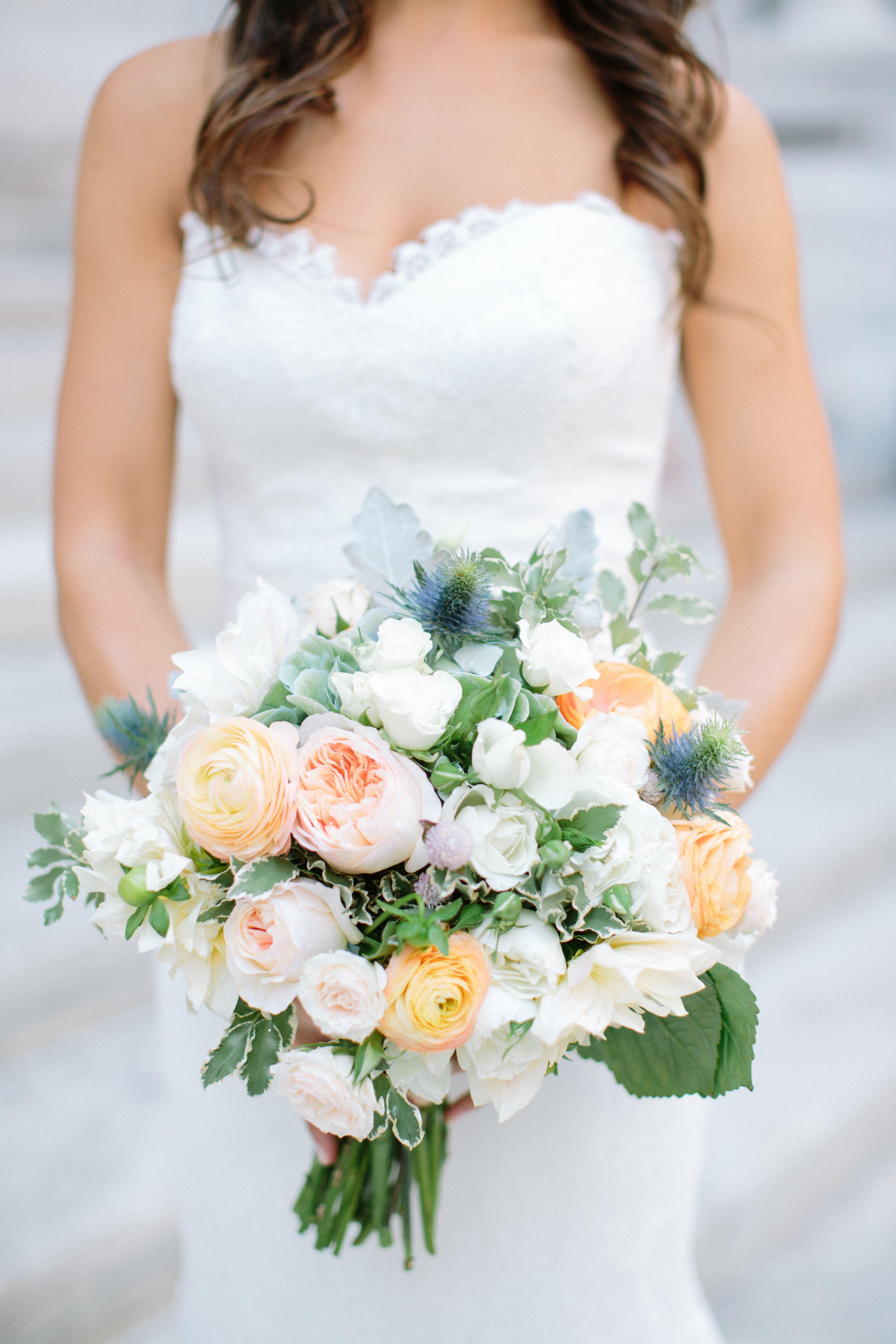 #thistle, #garden-rose, #ranunculus  Photography: Caroline Frost Photography - carolinefrostphotography.com  Read More: http://www.stylemepretty.com/2014/10/27/nyc-summer-garden-wedding-in-bryant-park/