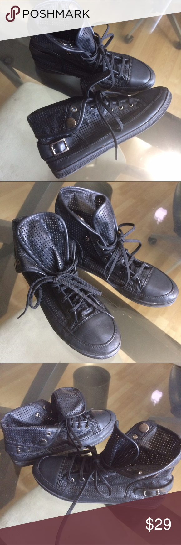Perforated sneakers vegan leather worn wear high tops and ankle