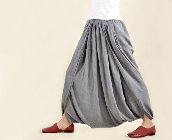 Fashion Women Solid Gray Skirt Pants Looset Fit Cotton Linen Pants Stylish Pants Travel Must Pants on Etsy, $55.00