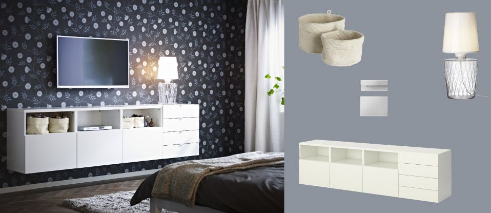BESTÅ White Wall Mounted TV Storage Combination With Doors And Drawers