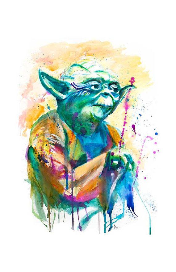 Yoda Watercolor Print by SplatterGeek on Etsy