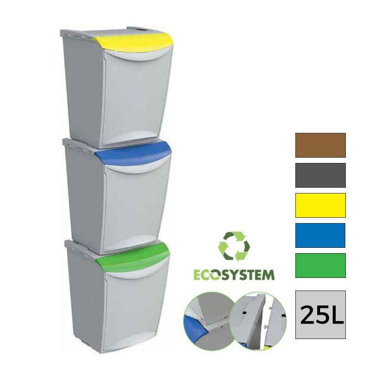 Lot De 10 Eco System Poubelle De Tri Selectif 3 Compartiments 25l