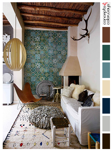 Blue Green And Brown Living Room moroccan style living room interior with color palette, warm brown