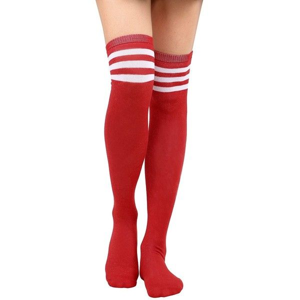 73a7dcbb84a Amazon.com  Thigh High Socks Women s Retro Striped Long Knee High ...
