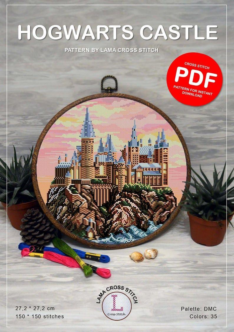 Hogwarts cross stitch pattern PDF , Harry potter cross stitch pattern , castle embroidery chart , harry potter gifts for decoration