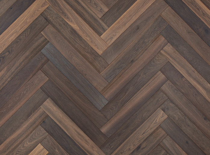 Tanga Deep Smoked Oak Hardwax Oiled Herringbone Parquet Flooring