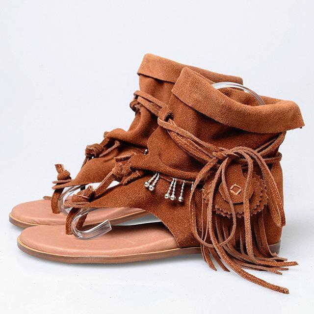 7e28c7686e011 Prova Perfetto Bohemia Summer Women Sandal Ethnic Style Tassels Ladies Ankle  Boots Sandal Shoe Rome Thong Gladiator Flat Sandals