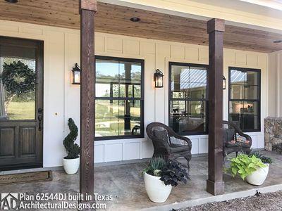 Modern Farmhouse Plan 62544DJ comes to life in Texas with a Hill Country exterior #smallmodernfarmhouseplans