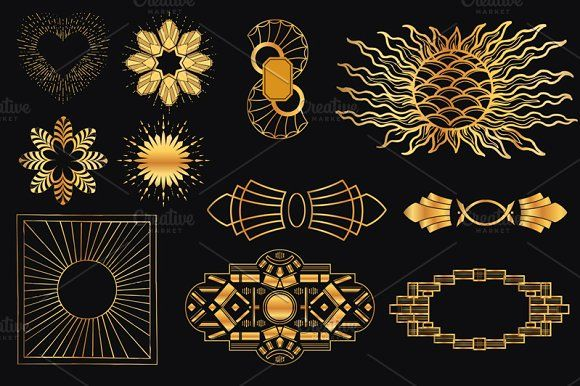 30 Art Deco Elements By FineScrap On