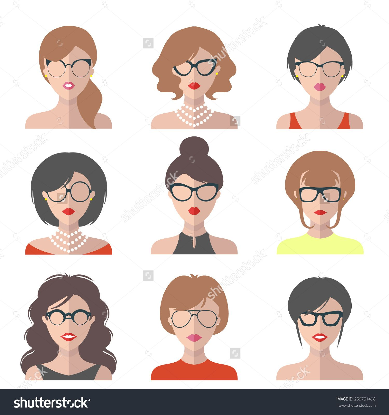Big vector set of different women app icons in glasses in