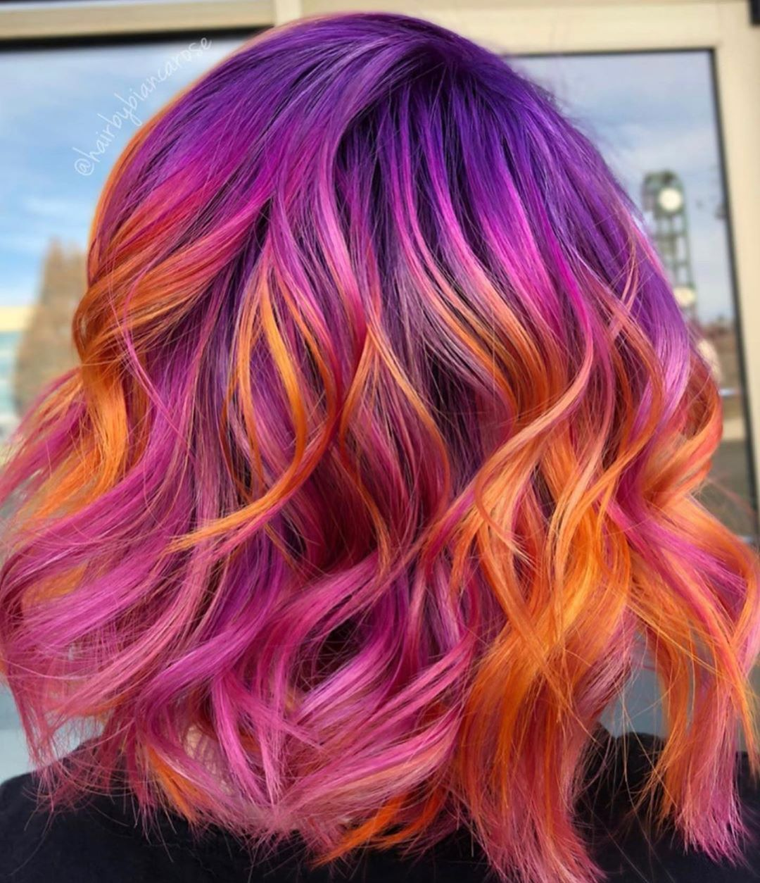 Living In Colour On Instagram Mix Your Colors To Create The Perfect Customized Look Hairbybiancaros Sunset Hair Pink Hair Highlights Orange Ombre Hair