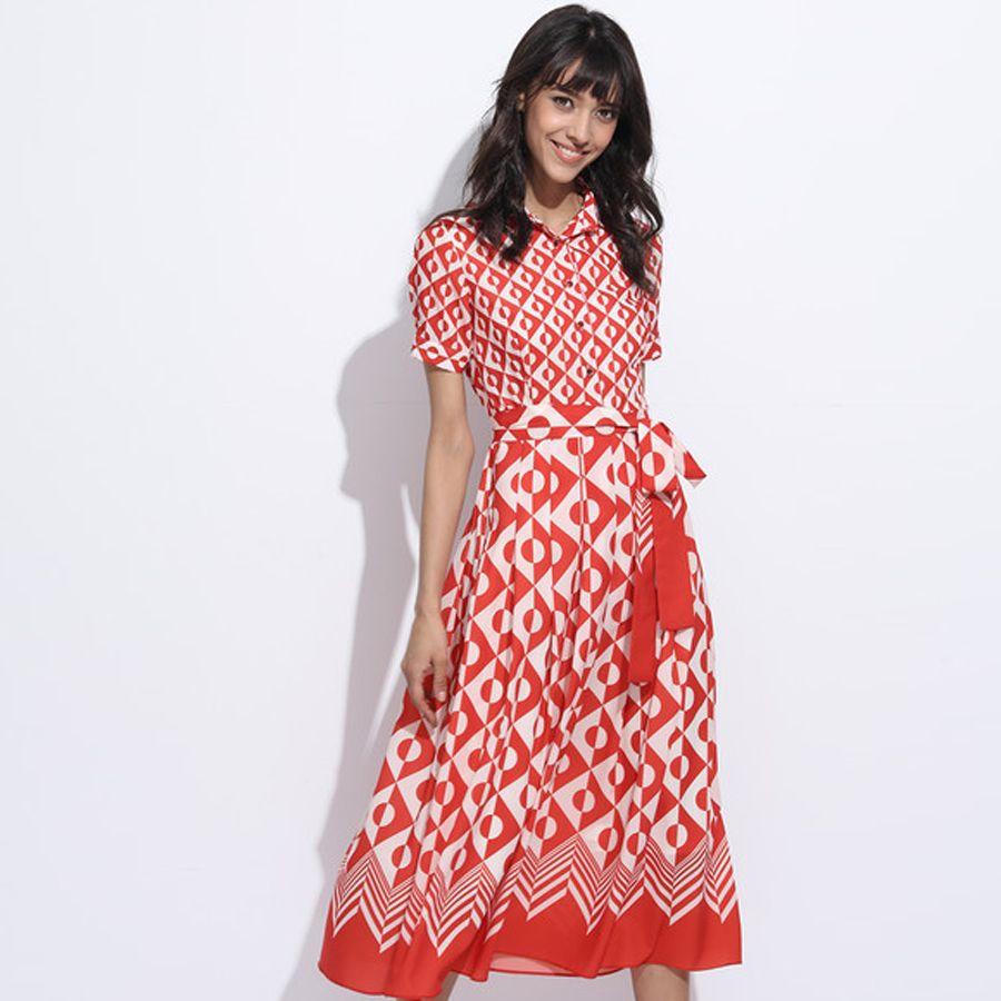 Click to buy ucuc elegant female dresses short sleeve fashion