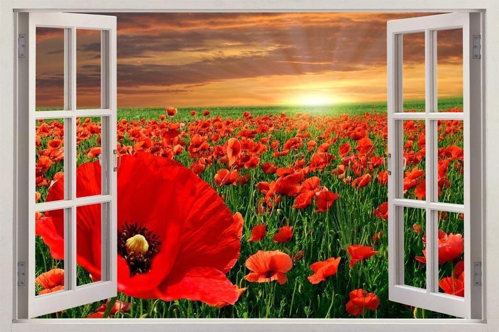 Flowers Field 3D Window Effect Wall Sticker Art Mural Decal