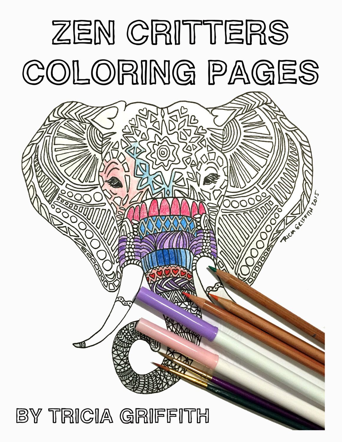 Zen Critters Coloring Book For Adults By TriciaGriffithArts On Etsy
