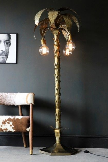 Brass Palm Tree Table Lamp | Gold | Audenza