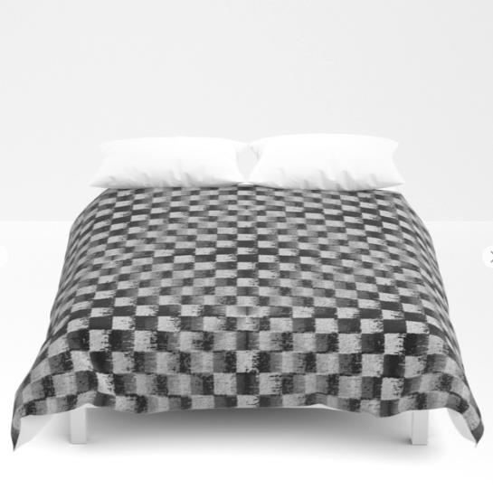Edgy Checker Black And White Duvet Society6art Design