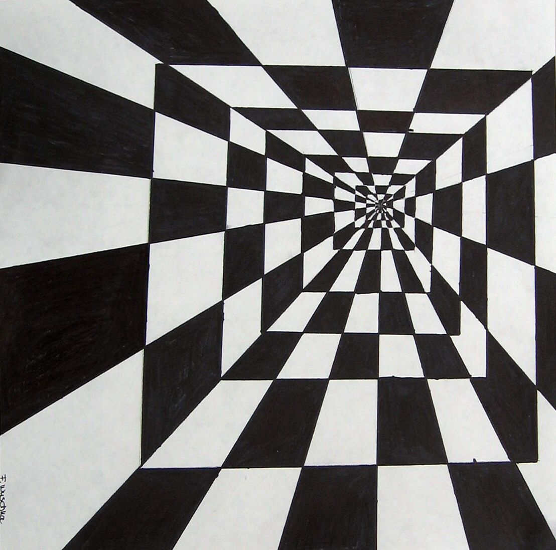 Tunnel Illusion Drawings Optical Illusions Art