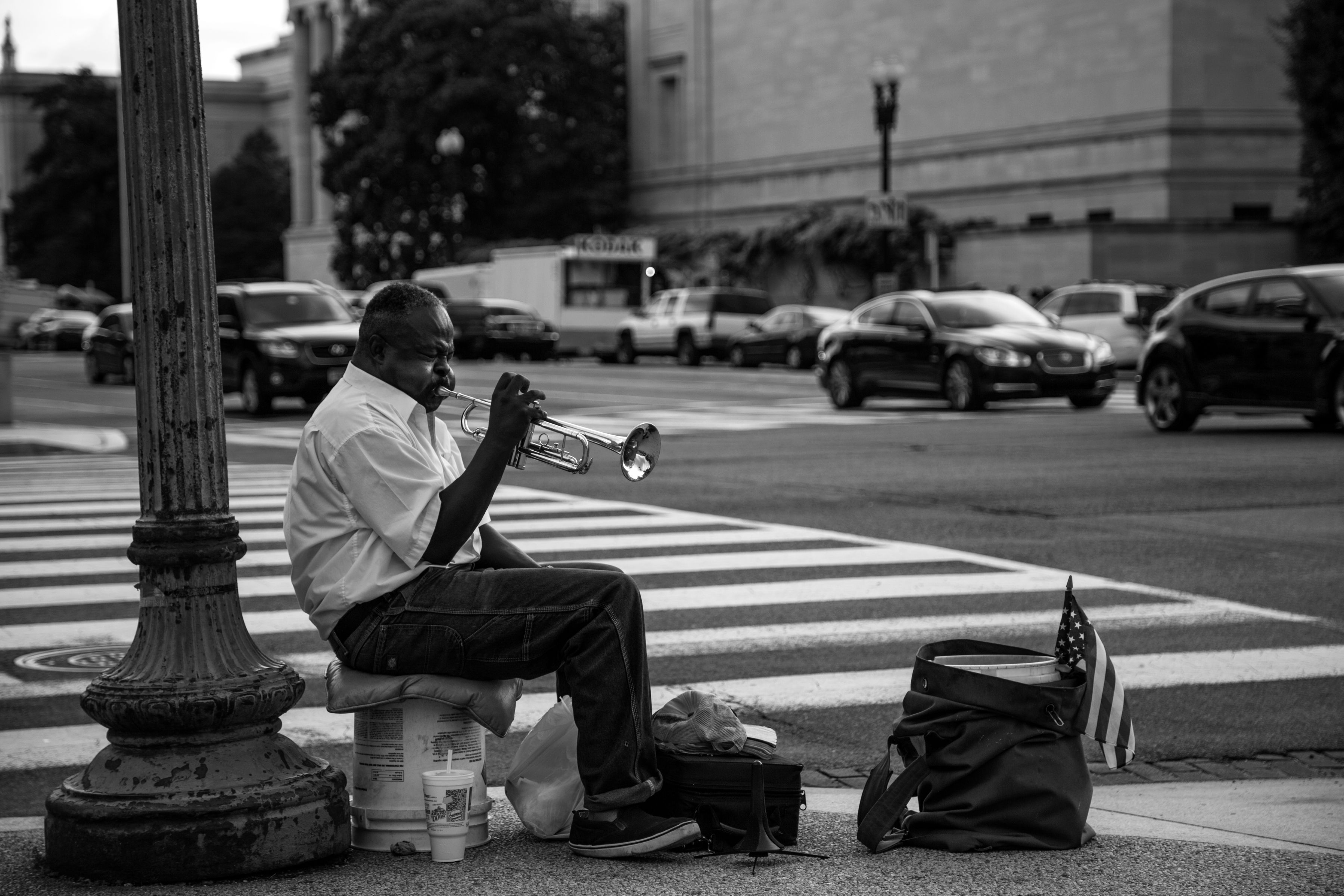Trumpet, Street photography, Performer, Black and White, The District, Washington DC