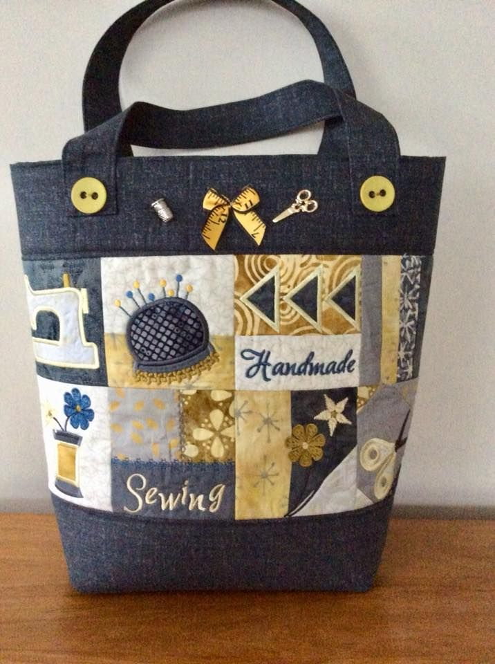 Sewing Tote Bag 4x4 5x5 6x6 in the hoop machine embroidery design ...