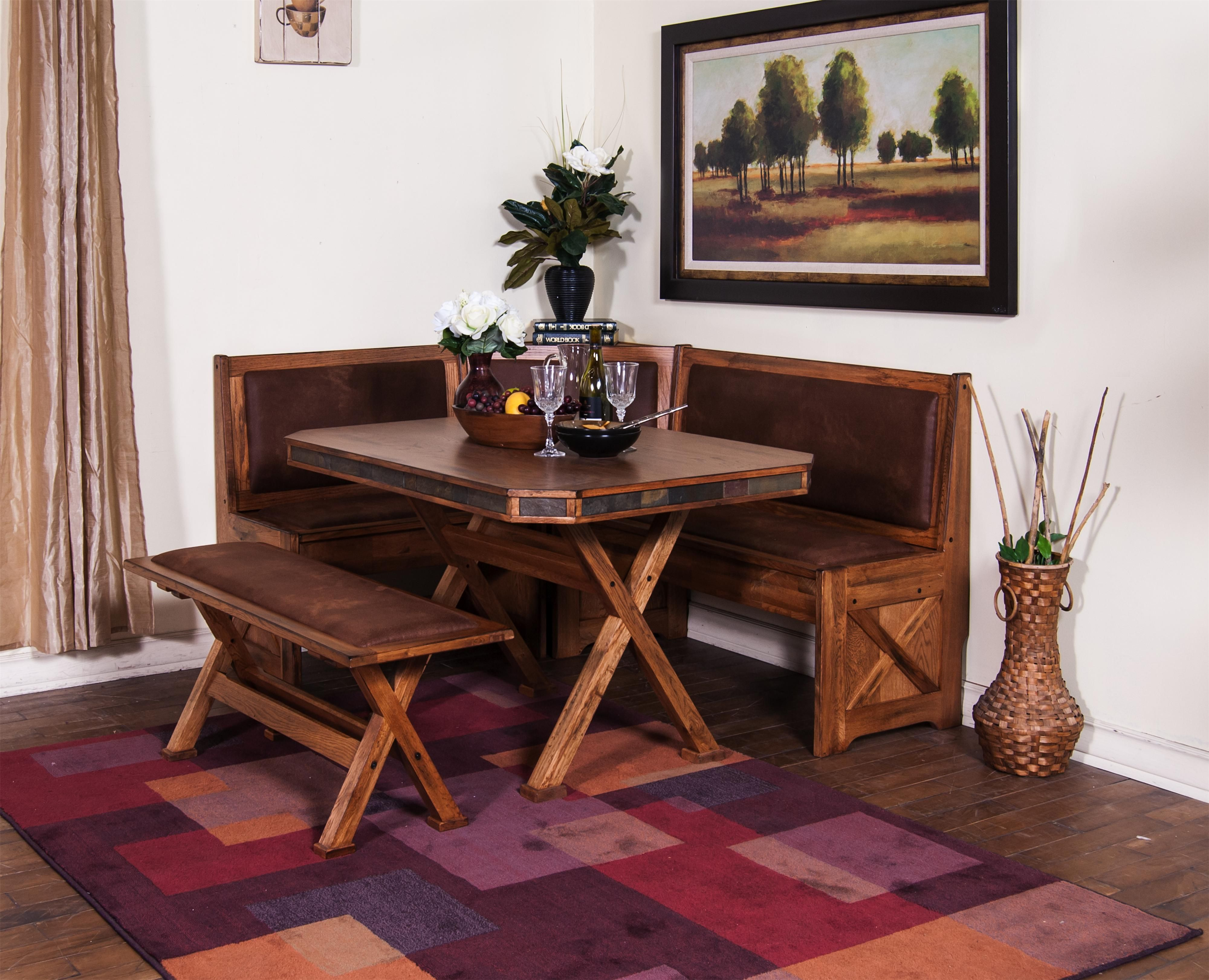 Dining room table with upholstered bench  From Morris Home Furnishings  Oxton Breakfast Nook Set with