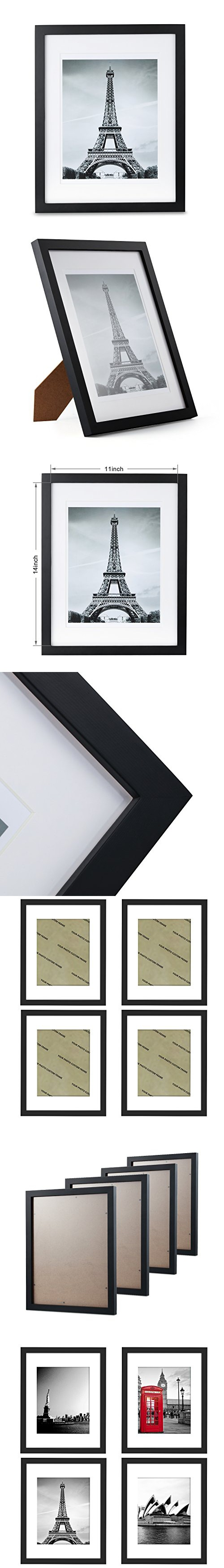 4Pcs 11x14 Picture Frames Black, Wood Instagram Photo Frames with 3 ...