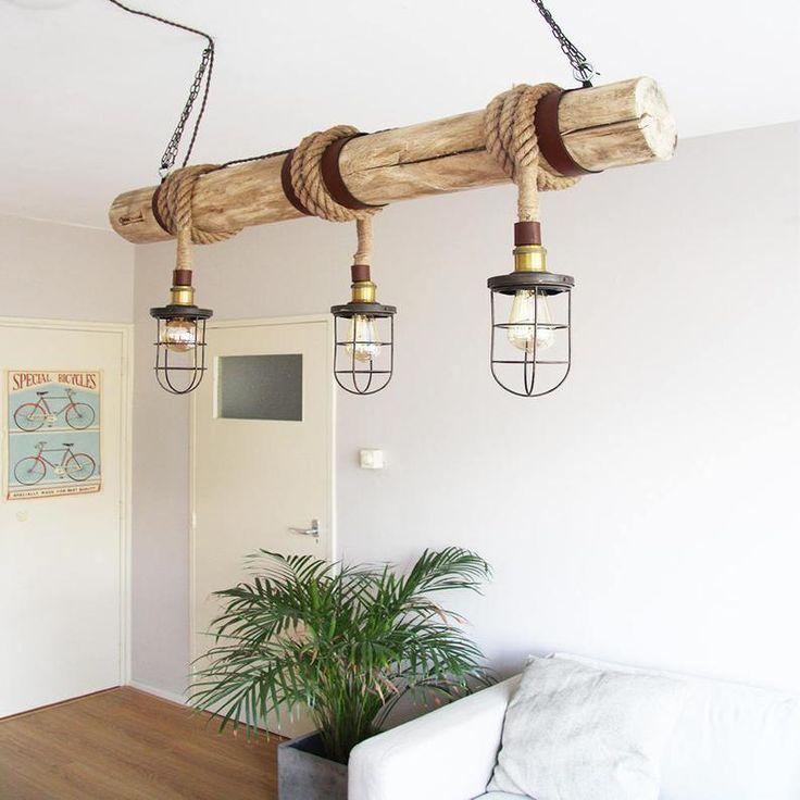 Wooden Hanging Lamp Rope Cage Chandler Bar Lighting