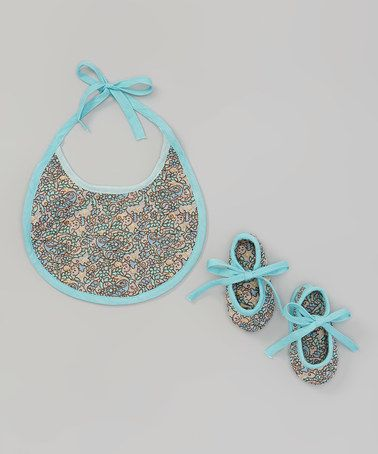 Look at this #zulilyfind! Gray & Blue Flower Bib & Booties #zulilyfinds