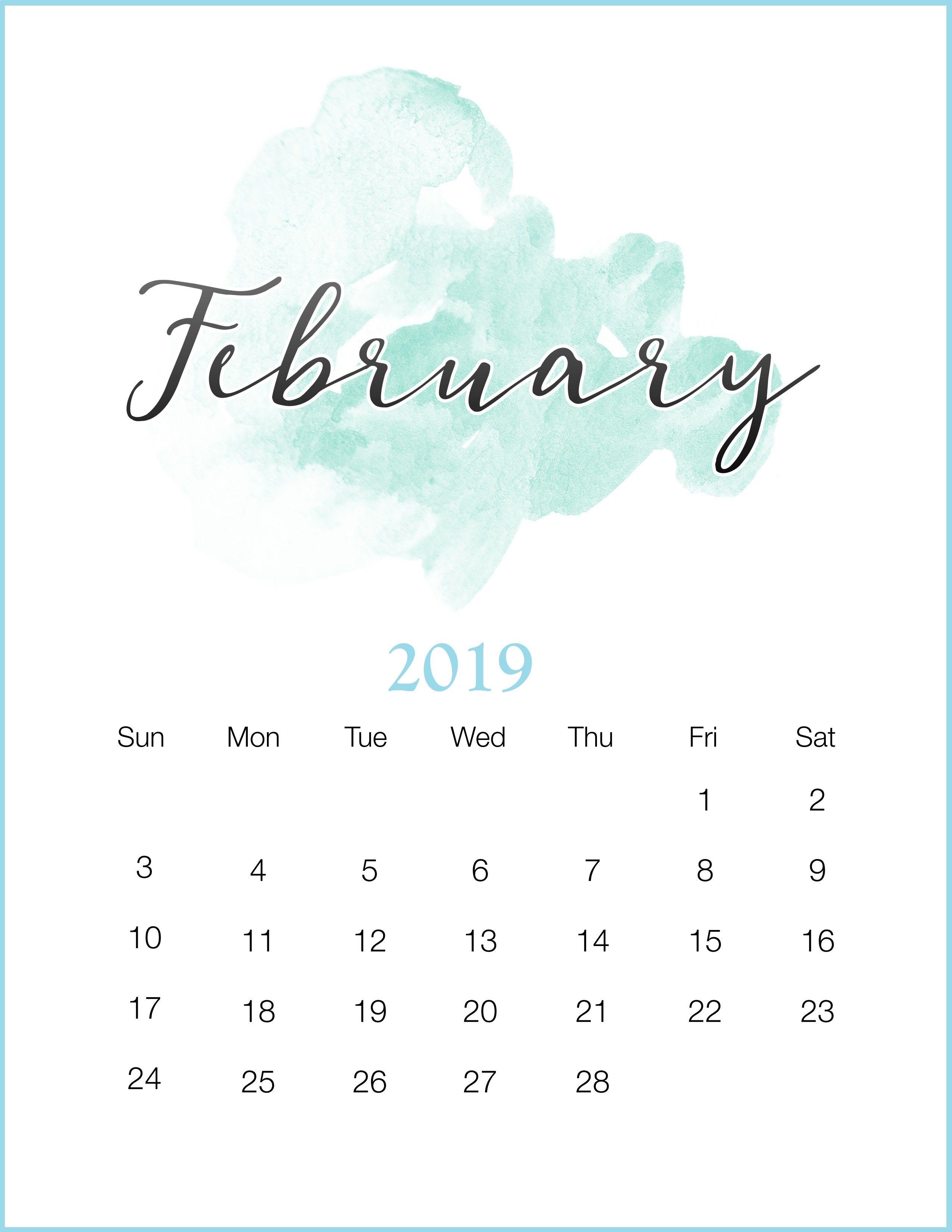 Watercolor February Printable Calendar February Watercolor
