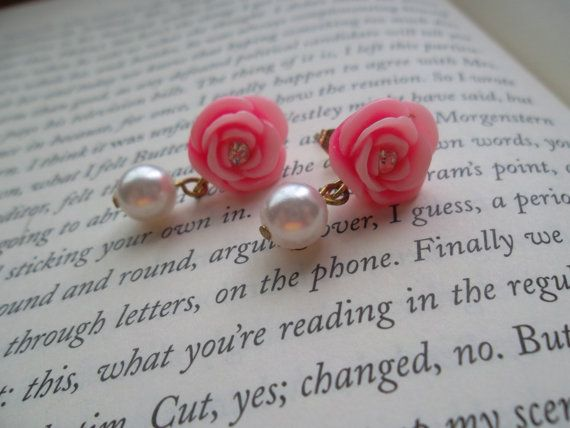 Pink Flower Cabochon Earrings With Pearl Bead by KandysCorner, $5.00