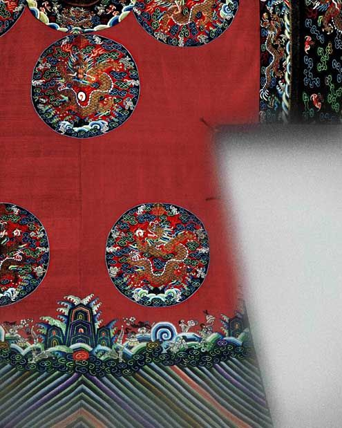 Court robe (detail), 19th century Qing dynasty (1644–1911), China. Silk and metallic-thread tapestry (kesi) with painted details. The Metropolitan Museum of Art, New York.