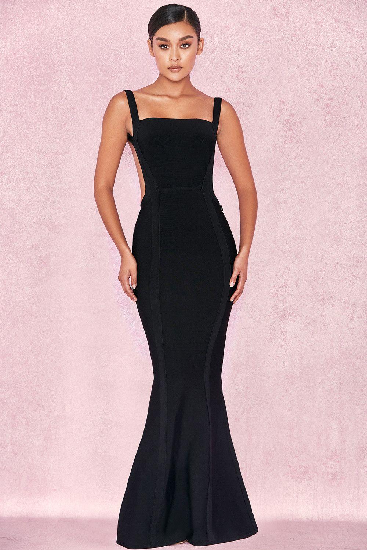 Clothing : Max Dresses : \'Ophelia\' Black Backless Maxi Bandage Dress ...