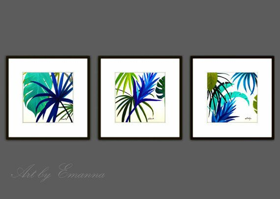 Fine Art Prints Set Of 3 Plant Print Abstract Painting Plant