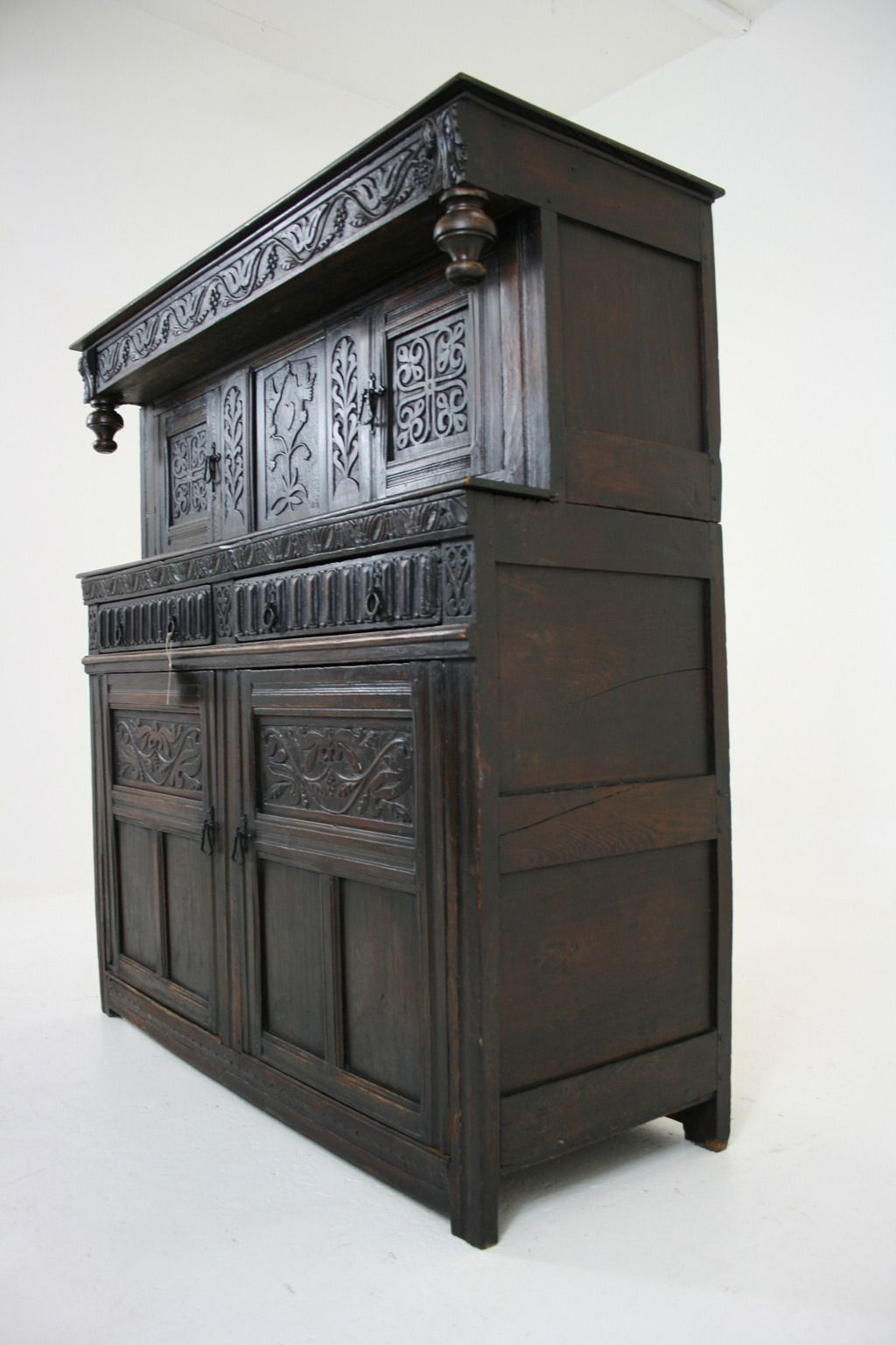 Antique Scottish 18th Century Carved Oak Court Cupboard ...
