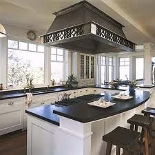 kitchen islands with cooktop - like the big hood fan over the whole ...